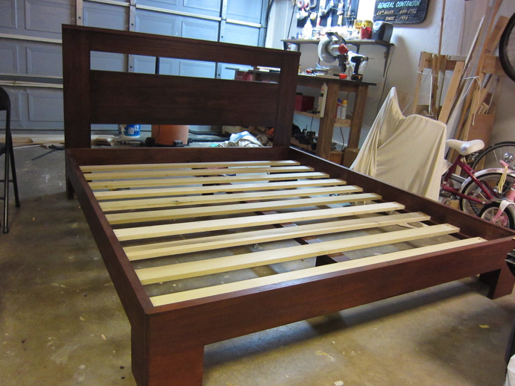 14 - All done in the garage Unfinished poplar for the slats They just rest on the cleats and the center support I used pockets hol